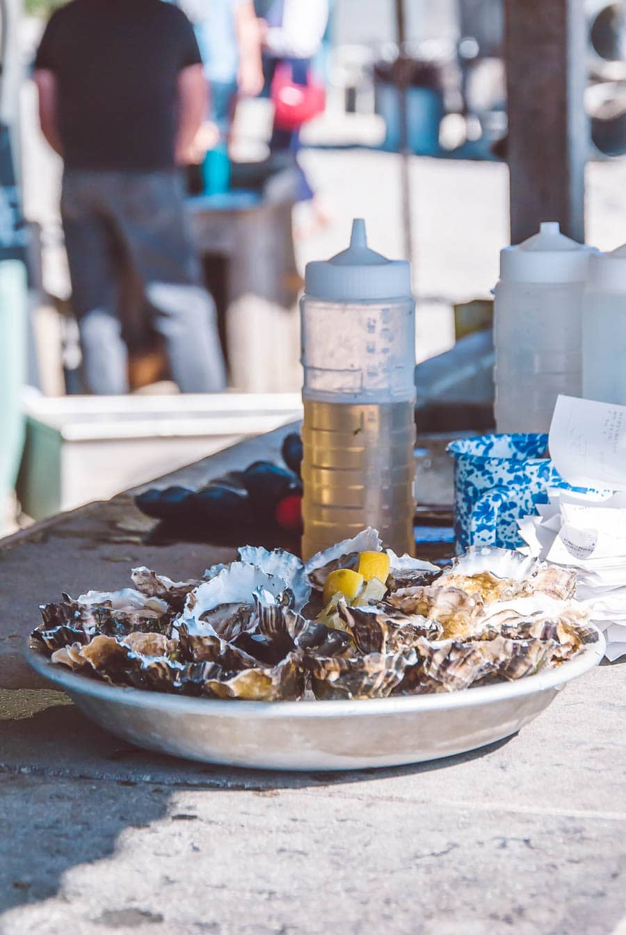 Plate of oysters on the half shell waiting at a restaurant window