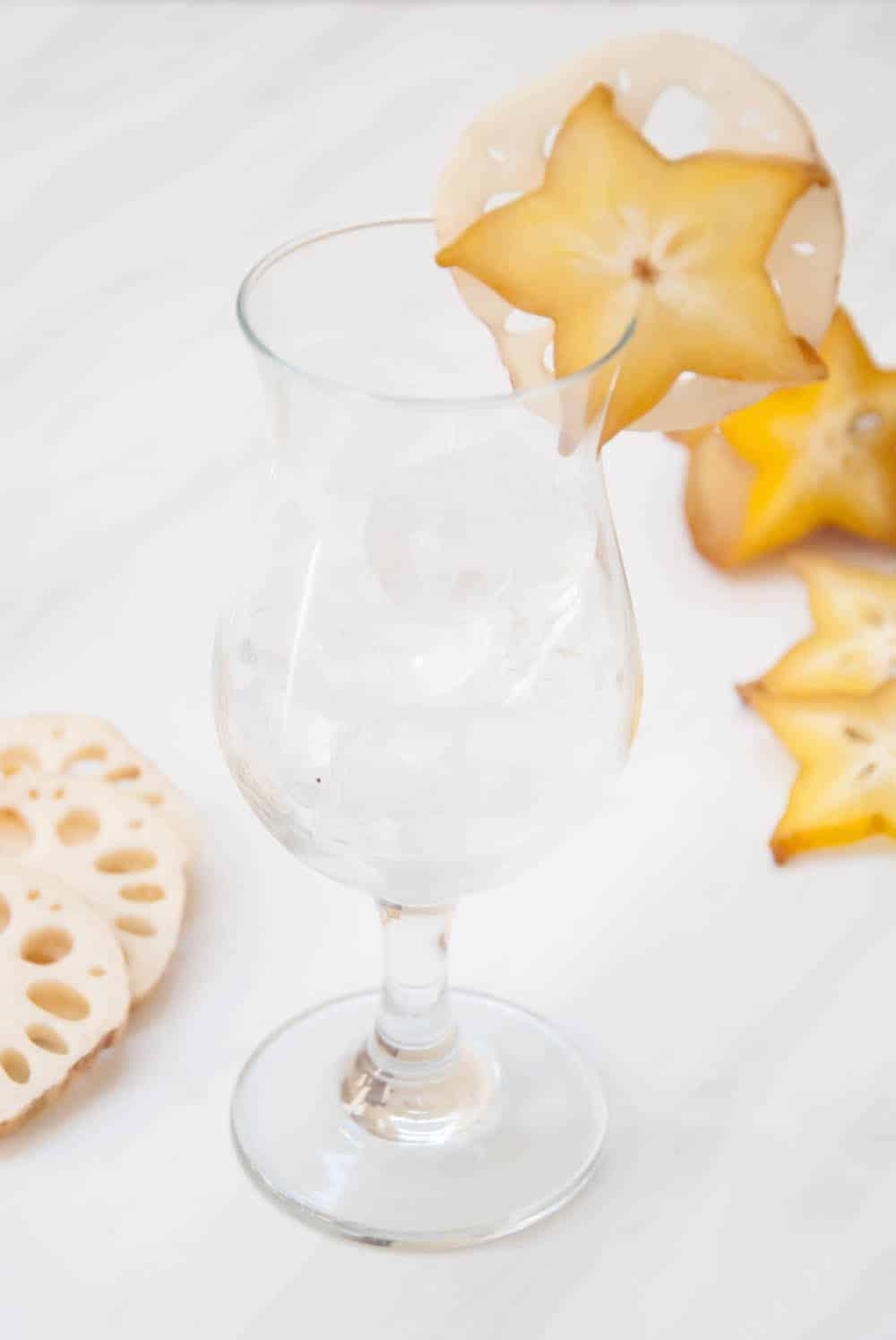 Island-Inspired Edible Cocktail Garnish: Lotus Root + Starfruit