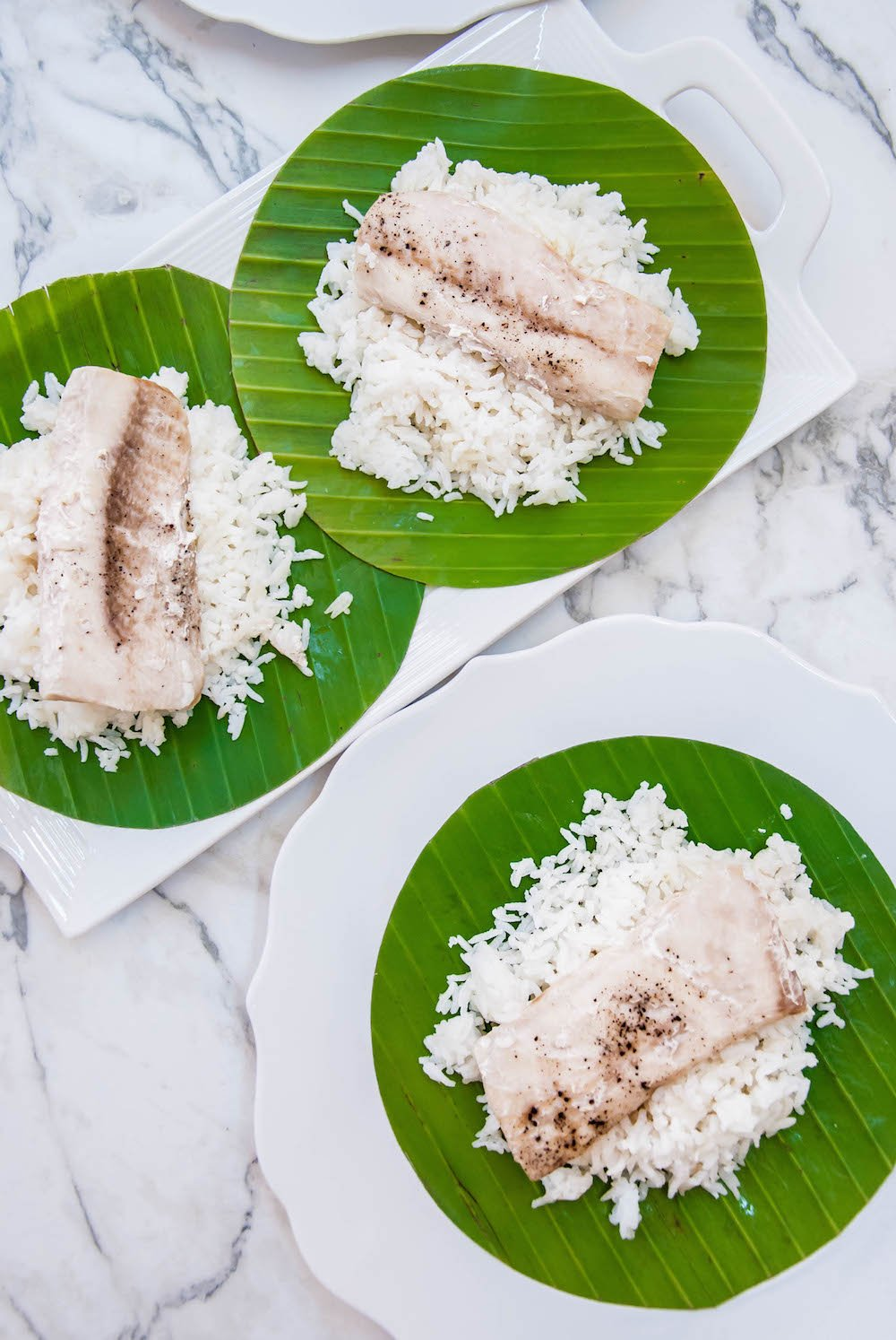 Mahi Mahi Baked in Banana Leaves with Island Slaw
