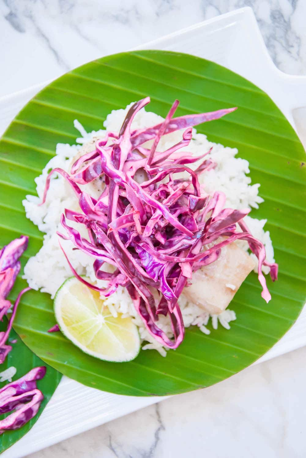 Mahi Mahi Baked in Banana Leaves with Island Slaw