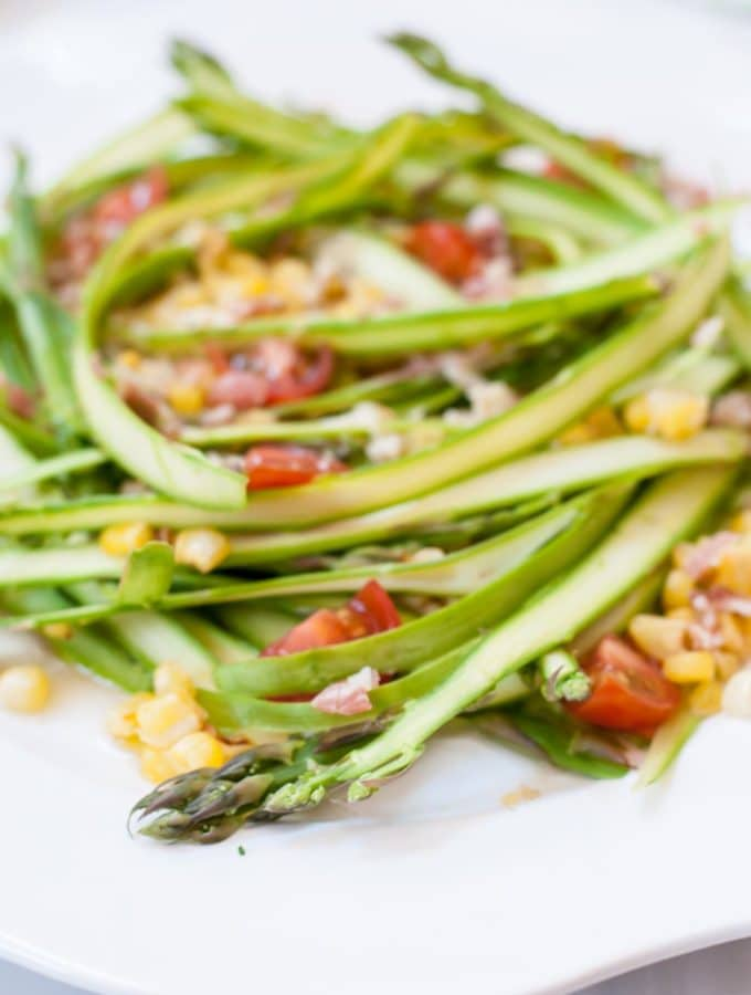 New Asparagus Ribbon Salad with Crumbled Pancetta and Parmesan