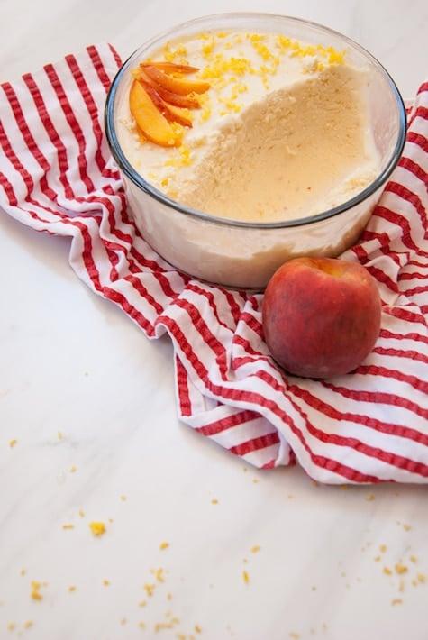 Peach Frozen Greek Yogurt with Lemon Zest