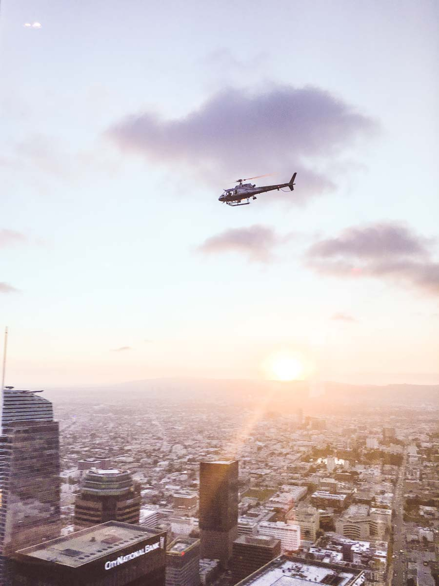Helicopter Over Los Angeles at Sunset