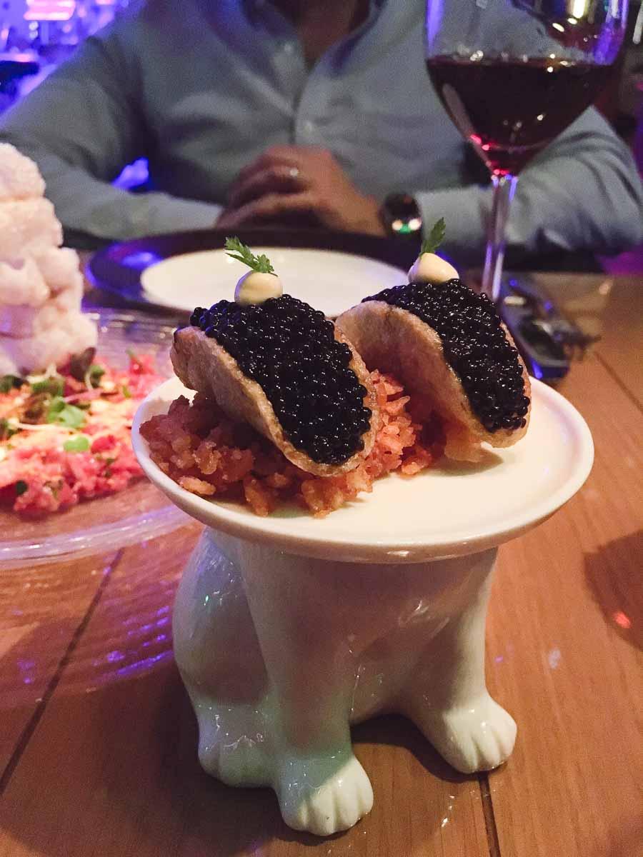 Caviar Taco at Rose. Rabbit. Lie. Las Vegas