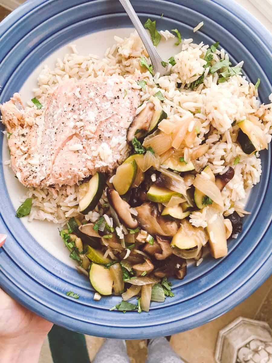 What a dietitian eats in a week - salmon teriyaki lunch
