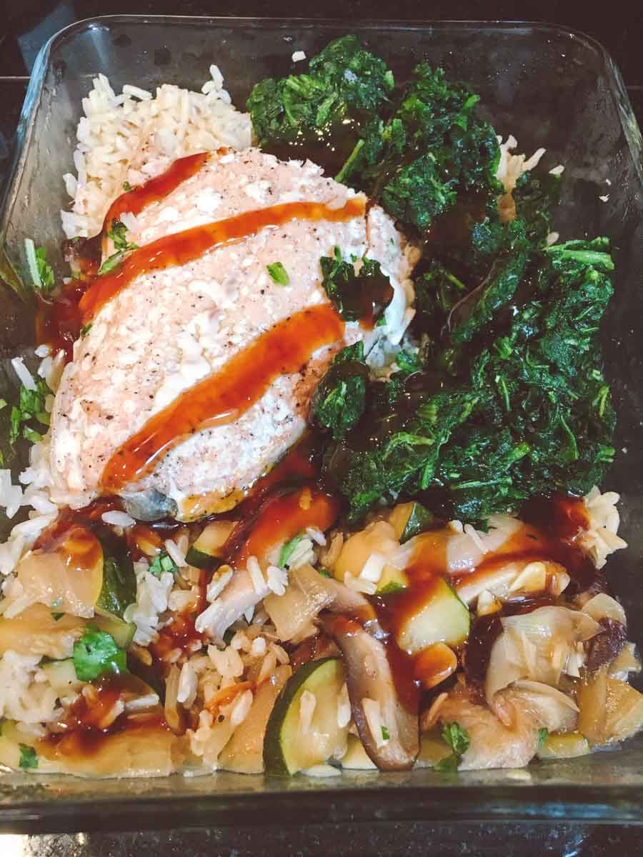 What a dietitian eats in a week - salmon teriyaki lunch leftovers
