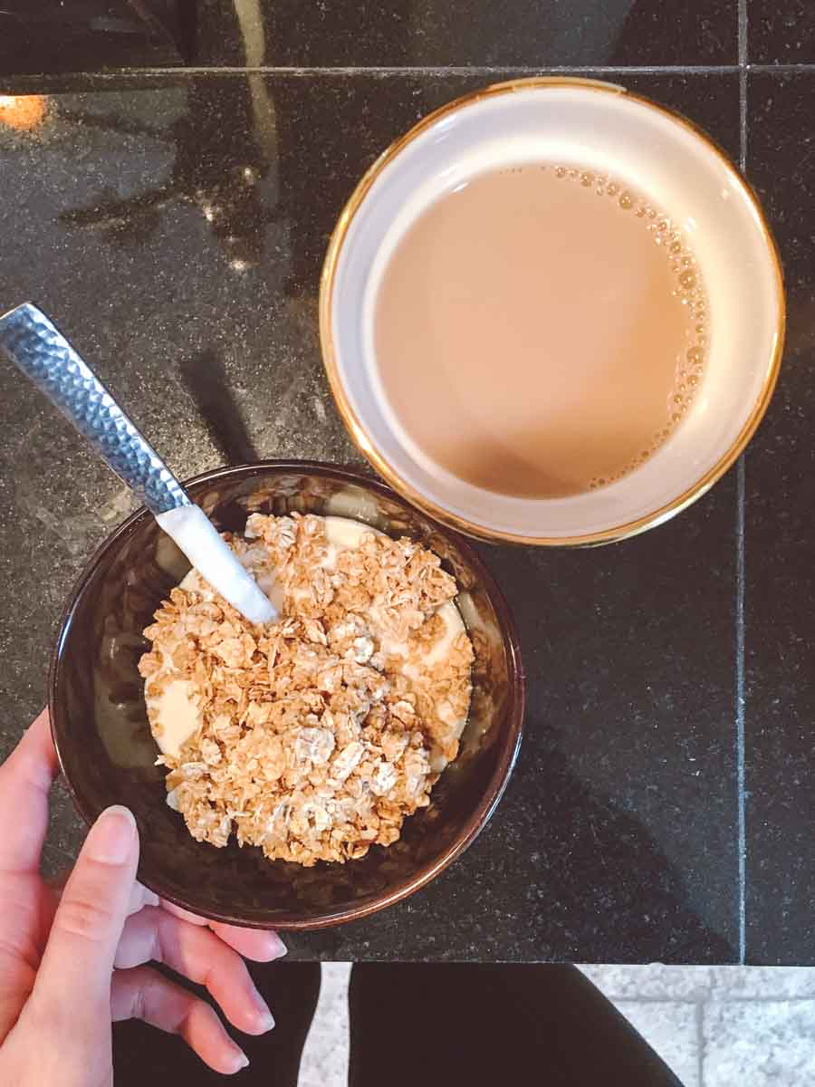 What a dietitian eats in a week - breakfast, coffee cup, yogurt and granola