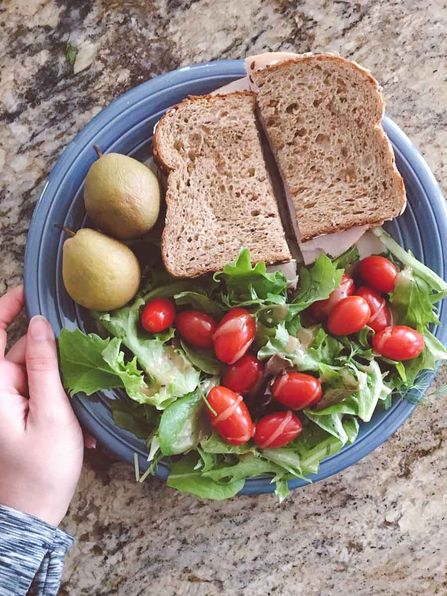 What a dietitian eats in a week - whole wheat sandwich and salad