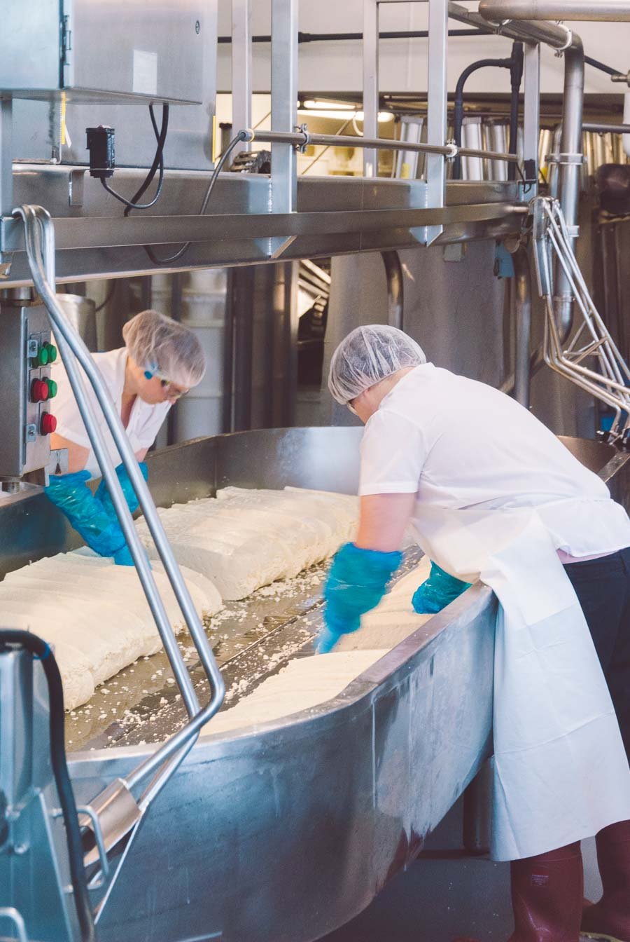 Two Beecher's Homemade Cheese employees making cheese in a metal tub.