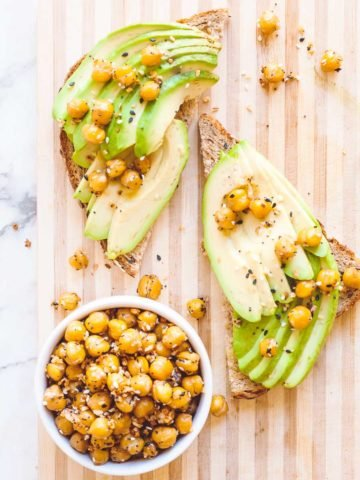 Everything but the bagel recipe using chickpeas on top of avocado toast