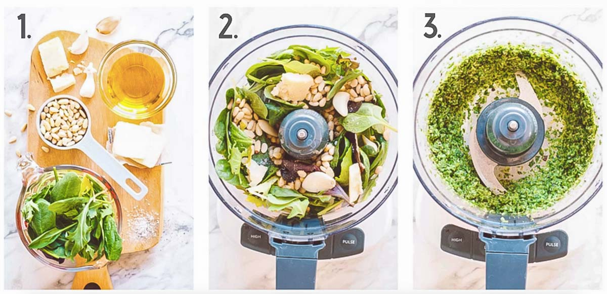 Three images for a lettuce pesto recipe step collage