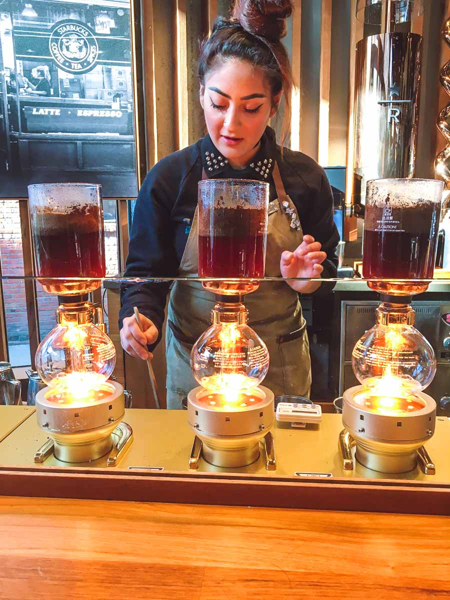 Starbucks Siphoned Coffee Experience Bar barista