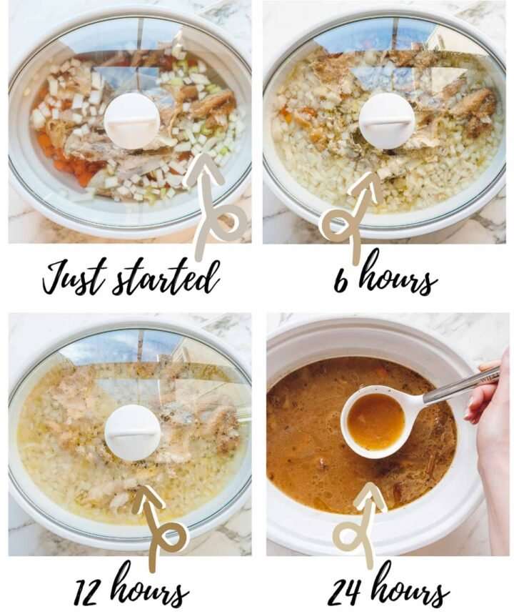 Four image collage showing the gradual change in golden ingredient color after 6, 12, and 24 hours of cooking.