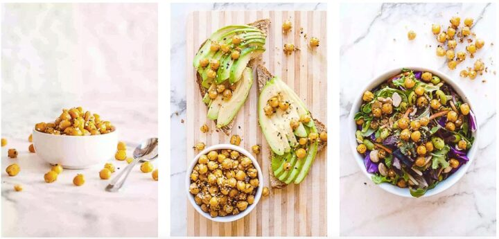 Collage of three ways you enjoy this recipe which includes images of chickpeas in a white bowl, tossed on top of on avocado toast, or mixed with salad greens.